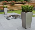 Brushed Stainless Steel Tapered Square Planters